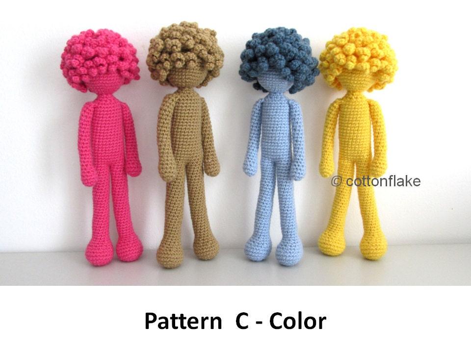 Pattern C Color doll amigurumi crochet human body