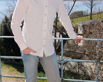Mens shirt, white organic cotton, slim fit