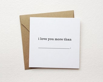 "love you more than...  mini note card - (2.5"" x 2.5"")"
