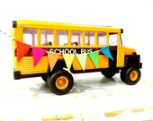 """Vintage Buddy L School Bus, 9 1/2"""" Long, Vintage 1981, With a RAINBOW Handmade Fabric Bunting BanneR"""