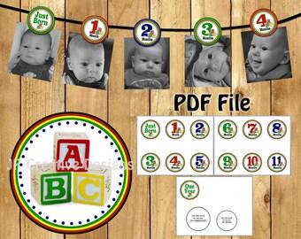 ABC Block Photo Banner ABC Picture Banner abc blocks 1st birthday banner ABC blocks 1st birthday party 1 year (printable diy pdf file)