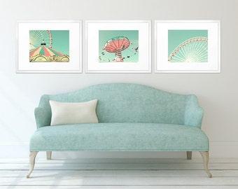 Nursery decor girl, nursery art, girl nursery decor, mint nursery wall art, carousel, ferris wheel, pink, coral, girl room, carnival photo