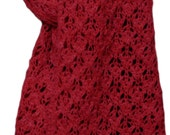 Hand Knit Scarf - Scarlet Red Cody Lace Mountain Meadow Wool