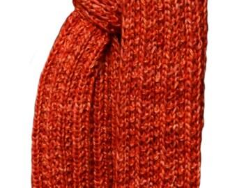Hand Knit Scarf - Orange Cashmere Silk Trail Ridge Rib