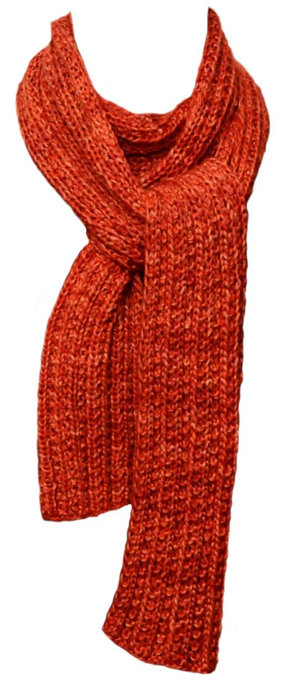 Hand Knit Scarf Orange Cashmere Silk Trail Ridge Rib