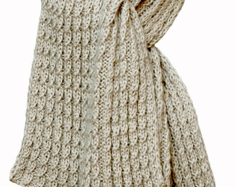Hand Knit Scarf - Champagne Kitten Cashmere Silk Cable Rib