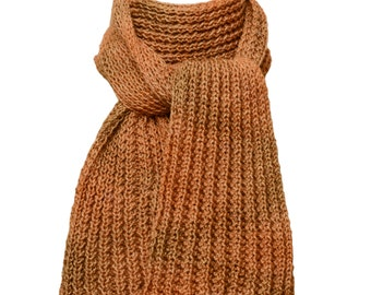 Hand Knit  Scarf - Gold Amber Waves of Grain Wind River Rib in Silk and Wool