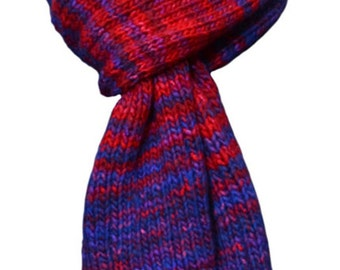 Hand Knit Scarf - Blue Red Rib Stripes Wool