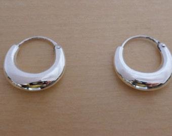 925 Sterling Silver CREOLE Sleeper HOOP Earrings 15 mm Diameter
