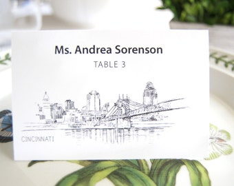 Cincinnati Skyline Place Cards Personalized with Guests Names (Sold in sets of 25 Cards)