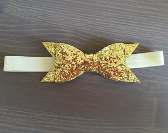 Gold Glitter Bow Headband, Newborn Headbands, Glam Headband, Glitter Bows, Photo Prop, Baby Headbands, Toddler Headbands, READY TO SHIP