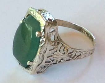Sterling silver filigree green Onyx vintage ring