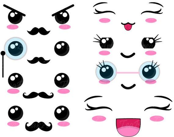 Kawaii faces set 2 digital clip art graphics personal - Emoticone kawaii ...