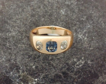 Victorian, Gyspy set, Sapphire and Diamond ring.