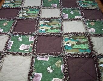 Baby Rag Quilt, Camo Crib Quilt, Rag Quilt, Camo Baby Quilt, Deer Bear, Handmade Quilt, Lap Blanket, Baby Blanket, Toddler, Shower Gift