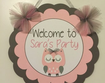 Owl Welcome Sign, Owl Birthday, Owl Birthday Decor, Owl Party Decorations, Owl theme decor, Owl Party