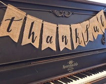 THANKFUL Fall Felt Burlap Banner Bunting with Black Italic Letters - Seasonal, Party, Decor, Photography, Mantle, Home, Holiday