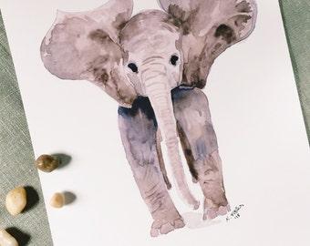 Baby Elephant Watercolor Art Print   Home decor   Nursery art   Elephant Art   Wall art   8x10   11x14   13x19