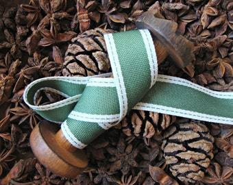 Moss Green and Natural Ticking Stripe Ribbon