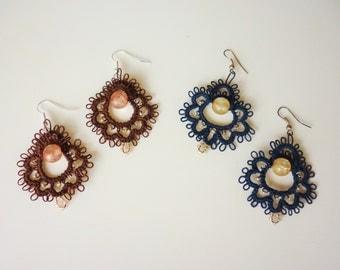Tatted Flower Earrings - Gifts ideas - Gift for her - Summer pattern- needle tatting technique - custom - Handmade frivolite -