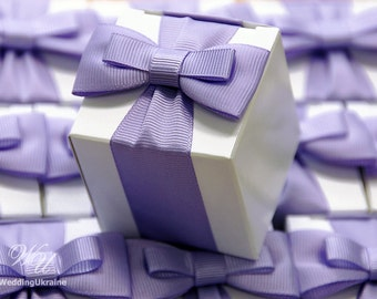 Elegant Favor box with bow - White candy box with reps or satin ribbon bow - Lavender
