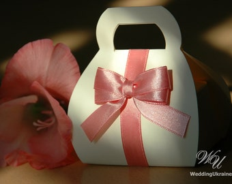 Elegant Ivory Wedding favor candy box - Bonbonniere - Little bag - box with bow - Any color of ribbon - Any Quantity - Ivory and Blush