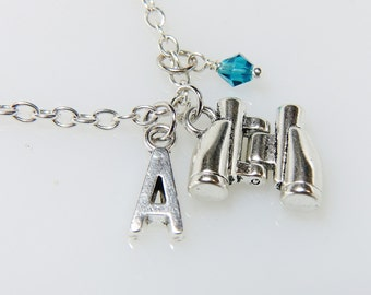 Binoculars Necklace Personalized Binoculars charms with Initial and Birthstone Necklace Antique Silver Binoculars Jewelry