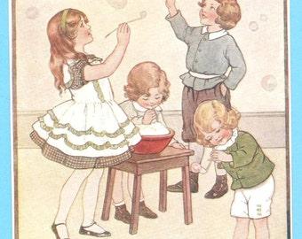 Nostalgic Vintage Nursery Print Blowing Bubbles