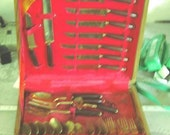 Vintage Brass/Stainless Thai/Siam Flatware in Chest, Service for 8