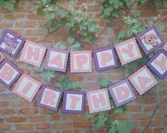 Happy Birthday Banner, Puppies and Kitties Birthday Banner, Pink and Purple Girl Birthday Banner, Girl Birthday Party Decoration
