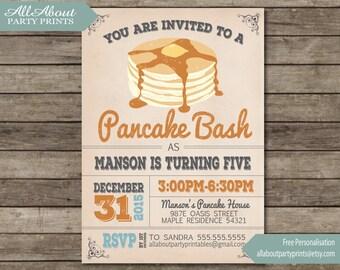 Pancake Birthday Invitation-Invitation Printable- JPEG Format printables-digital file