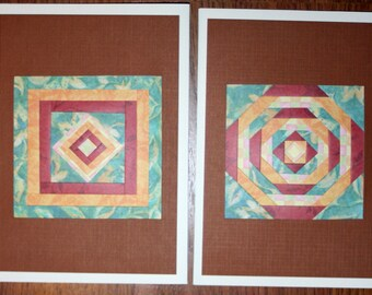 Quilt Pattern Blank Greeting Cards