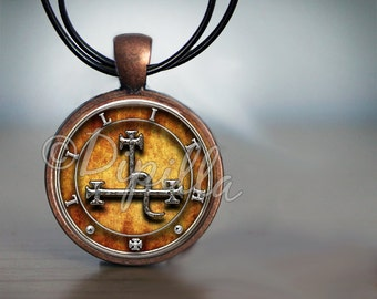 Lilith Sigil Seal pendant in Copper Bezel with Leather Cord