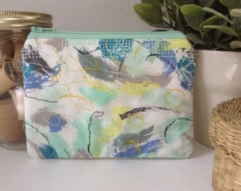 Small Zipper Bag, Zipper Pouch, Makeup Bag, Cosmetics Case, Clutch Purse, Knitting Notions Bag, Gadget Case, Watercolor, Yellow, Mint, Blue