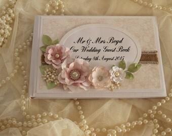 Wedding guest book, rustic wedding, floral , vintage wedding , wedding scrapbook, wedding gift, shabby chic wedding guest book, pink wedding