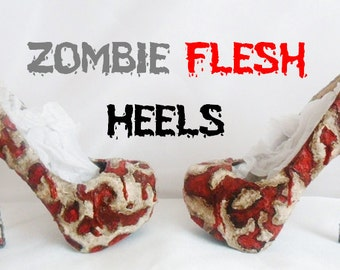 Zombie Flesh Custom Hand Sculpt Paint Red Ribbon Black Skin Shoe Size 3 4 5 6 7 8  Kraken High Heel Platform Blood Gore goth gothic fashion