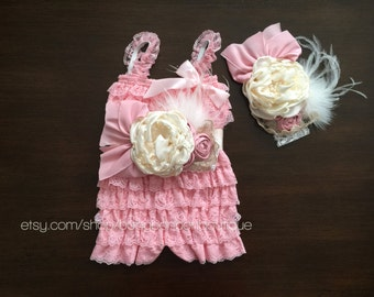 pink flower girl, baby lace romper, ivory petti romper, pink romper, champagne romper