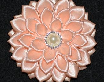 Handmade Girl's Flower Hair Clip/Bow in Peach Colour, School/Wedding/Christening/Party