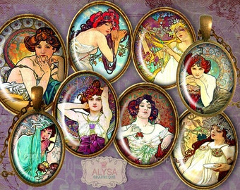 Alphonse Mucha Oval Images 30x40mm, 25x18, 18x13 Digital Collage Sheet + 6 FREE Gift Tags Instant Download for pendants, cabochons, magnets