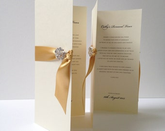 2 x Vow Cards, Wedding Vow Cards, Bride And Groom's Wedding Vows, Renewal Of Vows