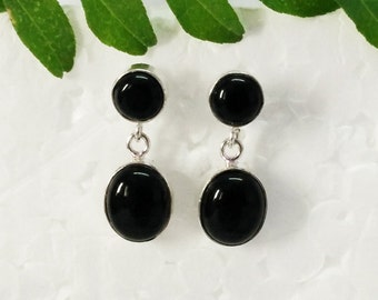 Beautiful BLACK ONYX Gemstone Earrings, Birthstone Earrings, 925 Sterling Silver Earrings, Fashion Handmade Earrings, Drop Earrings