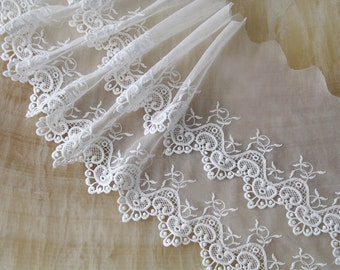 Width 9.44 inches Ivory/black Lace Trim, Floral Bridal Lace, Wedding Trim, cotton embroidered lace(1-281)