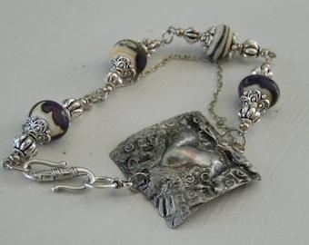 Purple & blue Lampwork Bead Silver Heart Bracelet