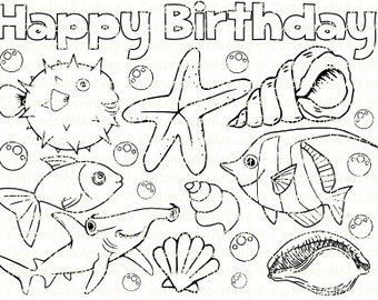 Under The Sea Party Favor Printable Fish Starfish Seashell Shell Coloring Page Sheet