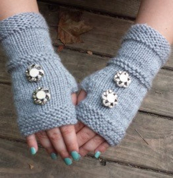 Knit Fingerless Gloves - Handmade Fingerless Gloves with Vintage Buttons - Upcycled Fingerless Gloves - Fingerless Gloves - ON SALE
