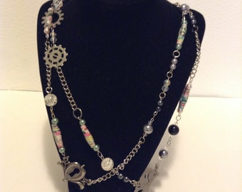 Paper Bead, Steampunk, Keyhole Necklace