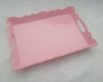 Shabby Chic Pink Wood Serving Tray - Shabby Chic Serving Tray - Shabby Chic Tray - Pink Wood Serving Tray - Pink Tray- Pink Serving Tray