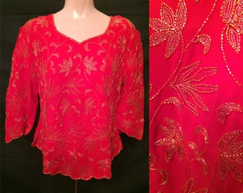 Red beaded blouse #1426