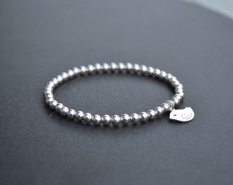 Sterling Silver Stretch Bird Charm Bracelet