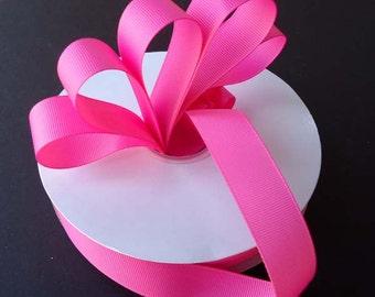 "5 yards 7/8 inch Pink Grosgrain Ribbon - 7/8"" Medium Pink Ribbon 5 yards - 7/8"" Pink Grosgrain Ribbon - Bubblegum Pink Ribbon 5 yards."